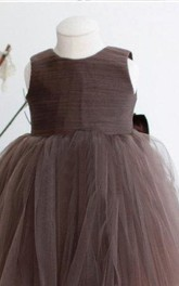 Sleeveless Ruched Pleated Tulle Dress With Bow