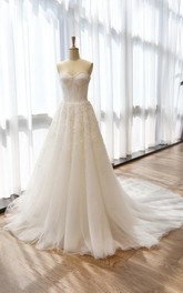 A-Line Tea-Length Sweetheart Sleeveless Bell Flower Zipper Keyhole Tulle Lace Satin Dress