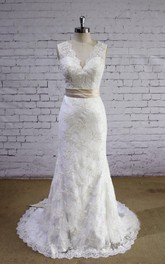 Elegant Lace Mermaid Lace Wedding Dress With V-Neck and Sash