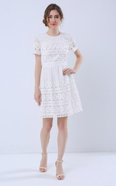 Short Sleeve Jewel Neck A-Line Dress