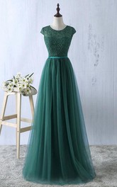 Cap-sleeved Scoop Neck A-line Tulle Dress