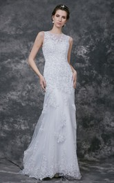 Luxurious Sleeveless Form-Fitted Lace Gown With Sheer Back
