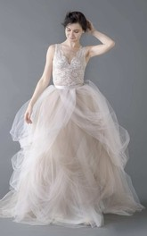 Tulle Organza Lace Button Zipper Wedding Dress