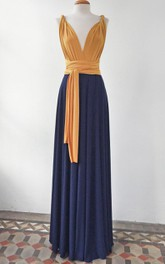 Mustard Long Mustard And Navy Long Navy Blue Convertible Evening Gown Choose Your Colors Wedding Dress