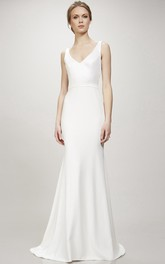 Long V-Neck Wedding Dress With Sweep Train And V Back