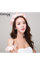 Bridal Headdress Sennheiser Wedding Sakura Peach Blossom Flower Flower Head Flower Seaside Holiday Photo