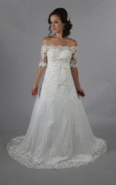 Princess Look Off-Shoulder Long Wedding Dress With Beading
