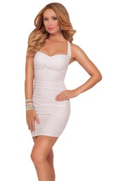 Sassy Halter Short Sheath Dress With Ruching