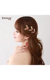 Bride Red Headdress Hair Ornaments Chinese Cheongsam Wedding Accessories Plate Hairpin U-Shaped Clip