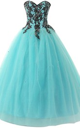 Sweetheart A-line Ball Gown With Appliques and Beadings