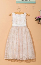 Sleeveless Jewel Neck Lace Dress With Bow&Flower