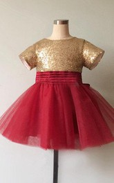 Sequins Top Jewel Neck Tulle Dress With Ruching