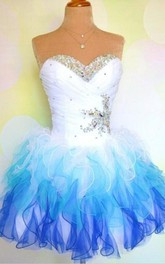 Lovely Sweetheart Sleeveless Short Homecoming Dress With Ruffles Beadings