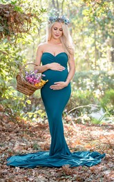 Sexy Sleeveless Mermaid Sweep Train Jersey Maternity Dress