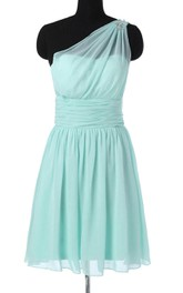 Short One-shoulder Chiffon Dress