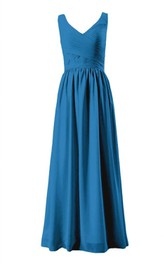 Sleeveless V-neck Ruched Bodice Long Pleated Chiffon Dress