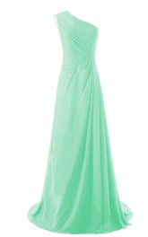 One-shoulder Side-drappping Chiffon A-line Gown With Train