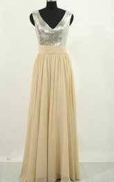 Long Silver Sequin Scoop Neckline Chiffon Prom Dress