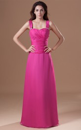 Strapped Chiffon Floor-Length Gown with Ruched Bodice