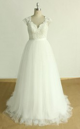 A-Line V-Neck Cap Sleeve Tulle Lace Satin Dress With Keyhole Back