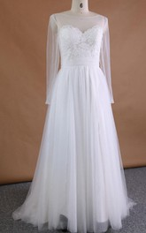 Long Sleeve Tulle Lace Satin Dress With Appliques Illusion