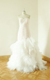 Sweetheart Lace-Up Back Sheath Tulle Wedding Dress With Ruffles And Ruching