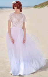 Serenity Ombre Wedding Girly Cute Wedding Lace And Tulle Wedding With A Slit Rose Quartz And Serenity Dress