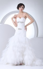 Sweetheart Tulle A-Line Gown with Beading and Ruffled Skirt