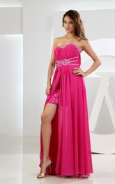 Sweetheart Chiffon Dress With Ruching Dress Beading