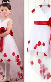 Lovely White and Red Hi-Lo Flower Girl Dress Waistband Flowers