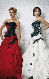 A-Line Sweetheart Taffeta Floor-length Sweep Train Sleeveless Wedding Dress