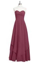 A-Line Sweetheart Chiffon Dress With Ruching and Asymmetrical Hemline