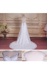 Trumpet Cap Sleeve Backless Lace Satin Dress With Beading Appliques