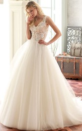 A-Line Ball-Gown V-Neck Appliqued Sleeveless Floor-Length Tulle Wedding Dress With Illusion Back And Court Train