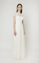 Elegant Illusion Short Sleeve Wedding Dress With Open Back
