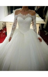 Long Sleeve Scalloped Neck Floor Length Lace Applique Bridal Gown