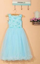 Elegant Scoop Neck Tulle Dress With Flower Detailing