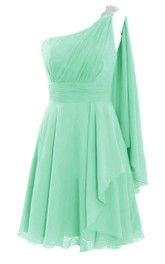 One-shoulder Beaded Pleated Chiffon A-line Gown With Cape