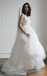 Lace Appliqued Deep V-back Romantic Plunging V-neck Sleeveless Bridal Ballgown With Tulle Skirt