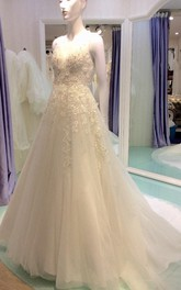 V-Neck Sleeveless A-Line Tulle Wedding Dress With Beaded Lace Bodice