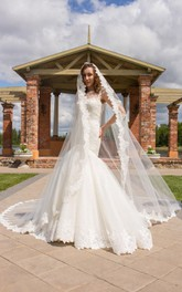 Cathedral Train Tulle Lace Weddig Dress