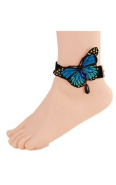 Blue Butterfly Flower Down Velvet Anklet