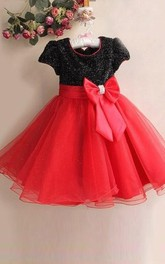 A-line Princess Scoop Short Sleeves Bowknot Floor-length Organza Flower Girl Dresses