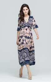 Bohemian Style Printed Half Sleeve Maxi Dress