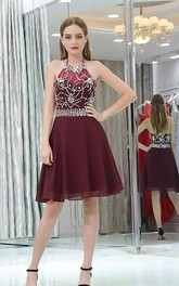 A-line Halter High Neck Sleeveless Beading Knee-length Chiffon Homecoming Dress