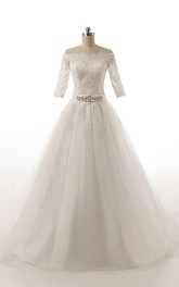 Ball Gown Half Sleeve Tulle Dress With Appliques And Waist Jewellery