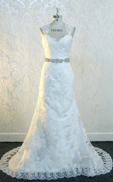 Queen Anne Keyhole Back Long Lace Wedding Dress With Sash And Crytal Detailing