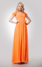 Off-The-Shoulder Floor Length Chiffon Dress With Flower and Ruching