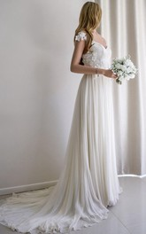 Sweetheart Chiffon Lace Weddig Dress With Beading