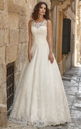 A-Line Long Appliqued Scoop-Neck Sleeveless Lace Wedding Dress